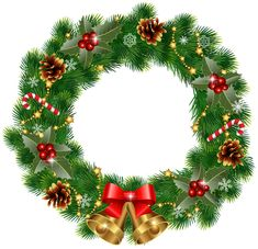 Christmas Wreath with Bells PNG Clipart Image