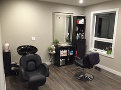 A home salon beauty salon interior, beauty salon decor, salon interior de. Home Beauty Salon, Home Hair Salons, Hair Salon Interior, Beauty Salon Decor, Salon Interior Design, In Home Salon, Small Beauty Salon Ideas, At Home Salon Station, Salon Stations