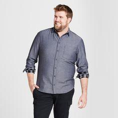 Men's Big & Tall Standard Fit Long Sleeve Double Weave Shirt - Goodfellow & Co Black 5XBT