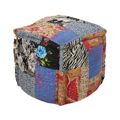 Budding Patchwork Florals Cube Cotton Pouf - Home Accents Decorative Accessories, Decorative Boxes, Modern Furniture, Furniture Design, Colorful Furniture, Furniture Ideas, Accent Furniture, Square Pouf, Square Ottoman