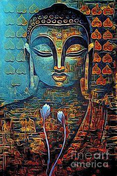 Budha Painting, Knife Painting, Diy Canvas Art, Acrylic Canvas, Modern Art, Contemporary Art, Buddha Face, Newspaper Art, Religious Paintings