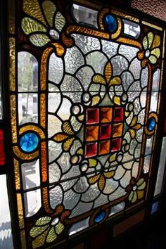 Eastlake antique Victorian stained glass window--notice the nine pinchback tiles in the center! Victorian Stained Glass Panels, Stained Glass Rose, Stained Glass Designs, Stained Glass Projects, Stained Glass Patterns, Stained Glass Windows, Leaded Glass, Beveled Glass, Mosaic Art