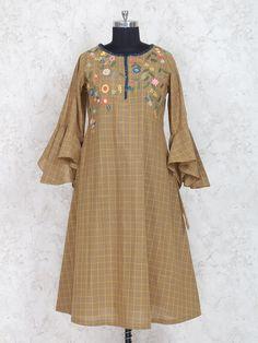 Shop Brown color checks kurti in cotton online from India. New Kurti Designs, Tunic Designs, Kurta Designs Women, Dress Neck Designs, Kids Lehenga Choli, Anarkali, New Dress Design Indian, Frock Style Kurti, Designer Kurtis Online