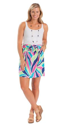 This colorful printed skirt pairs perfectly with a simple white tank and coordinating necklace!