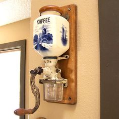 Antique Delft coffee mill blue china grinder by AntiqueAddictions, $149.90