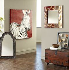 Match colors across different wall decor to bring two spaces together Zebra Art, Unique Mirrors, Picture Layouts, Layout Design, Beautiful Homes, Living Room Decor, Sweet Home, Wall Decor, Decorating Ideas