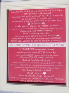 Mommy OM art prints. Kids Wall Art. 25 things i want my daughter to know 11x14 PRINT. $20.00, via Etsy.