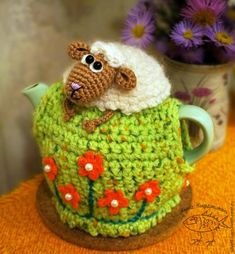 25 Crochet Knit Tea Cozy Free Patterns [Picture Instructions]: Crochet Teapot Cozy, Tea Pot Cosy Cover Free Patterns Round Up Crochet Sheep, Crochet Cozy, Love Crochet, Tunisian Crochet, Tea Cosy Pattern, Knitted Tea Cosies, Knitting Patterns, Crochet Patterns, Mug Cozy