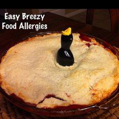 Allergy free cherry peach pie - no milk, no soy, no egg, no nuts.  Easybreezyfoodallergies@blogspot.com