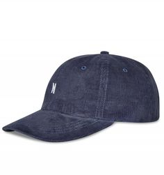 """Norse Projects Corduroy Sport Cap in Light Indigo. A classic sports cap made in the U. from Italian corduroy, finished with a leather adjuster strap and a white mini """"N"""" logo embroidery at front. Norse Projects, Sports Caps, Corduroy, Baseball Hats, Mini, Classic, Leather, Derby, Baseball Caps"""