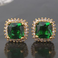 Fashion jewellery! gorgeous 24k yellow gold filled emerald stud earring #Stud