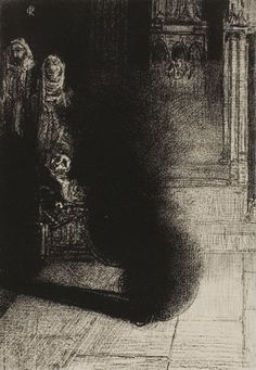 Odilon Redon - Frontispiece for Les Flambeaux noirs by Emile Verhaeren, 1890, Lithograph | The Art Institute of Chicago