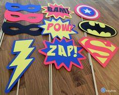 Photo Props: The Super Hero Set (10 Pieces) - party wedding birthday engagement die cut superhero mask pow superman america batman stick