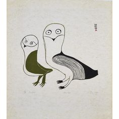 LUCY QINNUAYUAK (1915-1982), E7-1068, CAPE DORSET TWO #OWLS http://inuitart.waddingtons.ca/auction/197/lot-248A