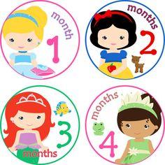 Baby Month Stickers Baby Monthly Stickers por LittleLillyBugDesign