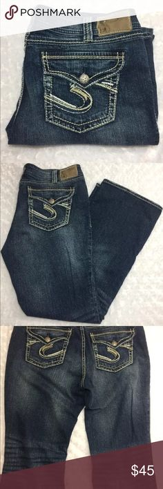 """Silver Jeans Fancy Pockets Plus Size 16 Bootcut Nice Suki surplus silver denim boot cut jeans plus size 16 length 32...99% Cotton / 1% spandex Medium Stonewash Creasing & Fading Button Flap Pocket with """"S"""" Thick Pick Stitch Mid Rise Boot Cut Curvy Fit Relaxed Hip & Thigh Silver Jeans Jeans Boot Cut"""