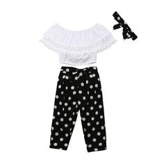 Onefa Toddler Kid Baby Girl Outfits Clothes Dot Print T-Shirt+Cat Embroidery Skirt Set