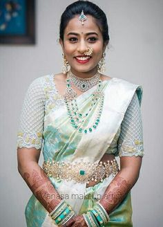 Image may contain: 1 person, standing South Indian Weddings, South Indian Bride, Bridal Blouse Designs, Saree Blouse Designs, Indian Bridal Hairstyles, Saree Wedding, Bridal Sarees, Bridal Outfits, Indian Designer Wear