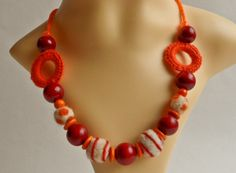 Red Orange Necklace Orange Necklace, Beaded Necklace, Necklaces, Golden Heart, Heart Crafts, Red, Jewelry, Beaded Collar, Jewlery