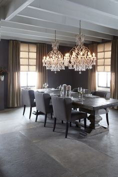 Stunning dining room! - Back Tab drapery panels: Fabric 'Regent' in color 6023. Combined with soft fold Roman Shades in 'Mayfair' 6020 with standard lining.