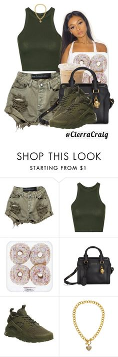 """Olive"" by cierracraig ❤ liked on Polyvore featuring OneTeaspoon, Topshop, Alexander McQueen, NIKE, Juicy Couture, croptop, AlexanderMcQueen, shorts, olivegreen and huaraches"