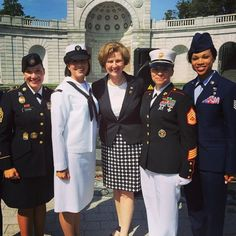 Indiana Congresswoman Susan W. Brooks stands with U.S. Servicewomen at the Women in Military Service for America Memorial in Arlington, Virginia.