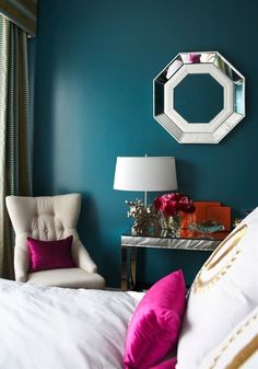 Teal Bedroom by patsy.perfect for accent wall. Teal Bedroom by patsy.perfect for accent wall. Master Bedroom, Bedroom Decor, Bedroom Colors, Bedroom Ideas, Bedroom Wall, Fuschia Bedroom, Teal Bedrooms, Peacock Bedroom, Dark Teal Bedroom