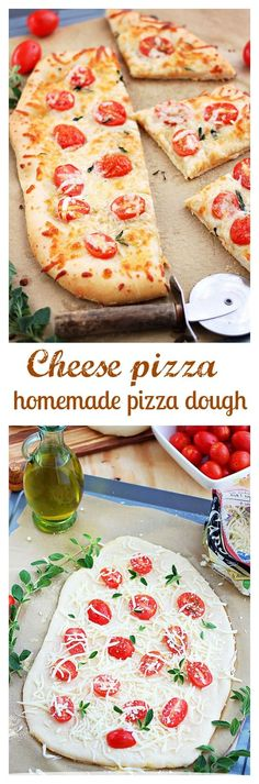 Made-from-scratch flavorful cheese pizza dough topped with more cheese and grape tomatoes. Friday night pizza just got a whole lot better!: