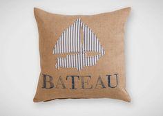 """Bateau"" Navy Ticking Stripe Pillow"