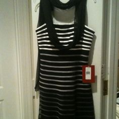 Reduced tonight from $26. black white ombré dress Dress hits below knee, has separate black scarf for interest. Rubber inside bodice to secure. Hidden side zipper. NWT Dresses