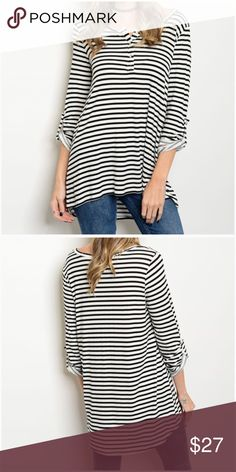 """Black & Ivory Striped Henley Black and Ivory Striped Henley  *Scoop Neck with 3 Buttons...Henley Style *Soft flowy material made of 95% Rayon & 5% Spandex *Hi/Low Style *Rolled Tab Sleeves *Swing Style (Gets wider toward bottom hem)  Measurements:  Small:      Bust 37"""" Length: 25.5/ 29.5"""" Medium: Bust 39"""" Length: 26/ 29.5"""" Large:     Bust 41"""" Length: 26.5/ 30.5""""  ❣️Price is firm unless bundled❣️ #WFS265631 Tops"""