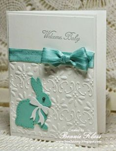 Stampin' Up! ... handmade baby card from Stamping with Klass ... aqua and white ... adorable die cut bunnie with stitch marks around the edges ... embossing folder adds pretty details ... perfectly tied bow on ribbon wrap ... delightful!