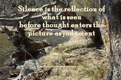 Silence is the reflection of what is seen before thought enters the picture as judgment