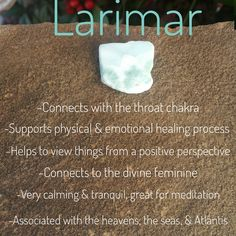 Larimar is also know as the dolphin stone, Stefilia's stone, or the Atlantis stone. It's only found in Caribbean waters & is connected to the water element. It is a very calming, serene, relaxing stone that brings the mind & heart together. Crystals Minerals, Rocks And Minerals, Crystals And Gemstones, Stones And Crystals, Gem Stones, Healing Stones, Crystal Healing, Gemstone Properties, Mineral Stone