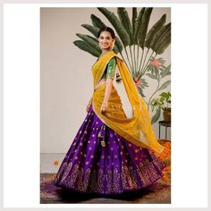 A collection of bright and eccentric half sarees by Bhargavi Kunam Half Saree Lehenga, Lehnga Dress, Bridal Lehenga, Lehenga Dupatta, Wedding Sarees, Sharara, Anarkali, Wedding Dresses, Half Saree Designs