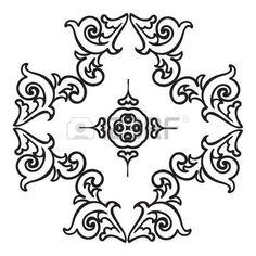 maioliche: Disegno a mano elemento zentangle. Stile maioliche italiane in bianco e nero. Mandala Fiore. Illustrazione vettoriale. Il meglio per il vostro disegno, tessuti, manifesti, tatuaggi, corporate identity
