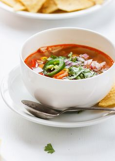 Easy and Healthy Smoky Rotisserie Chicken soup recipe to use any leftover rotisserie or cooked chicken. Warming, comforting and healthy way to nourish you for lunch or dinner.