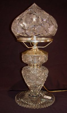 American cut glass lamp, base is holder for punch - Jan 2014 Lantern Lamp, Candle Lamp, Chandelier Lamp, Lanterns, Chandeliers, Candles, Victorian Table Lamps, Glass Lamp Base, Oil Lamps