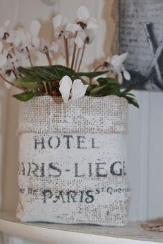 Painted & stenciled burlap flower bag