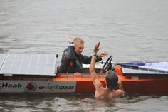High five! ROC Friese Poort during the Dutch Solar Challenge 2014. They raced in the A class at the world cup for solar powered boats.