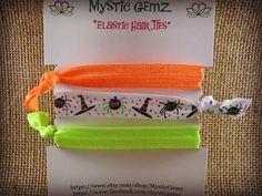 "Halloween Elastic Hair Ties Spider Witch Hat Halloween Hair Ties 5/8"" Fold Over Elastic FOE Hair Ties Ponytail Holder Orange Lime White #bestofEtsy #etsyretwt"