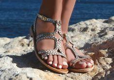 Sandali bassi in pelle argento Les Tropeziennes Bounty! Silver leather flat  sandal Les Tropeziennes Bounty 279fbf0d5561