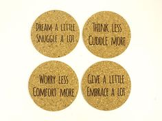 Set of 4 Inspirational Words Laser Etched Cork by BooBooAndTed