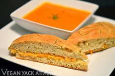 Focaccia Grilled Cheese with Tomato Basil Soup