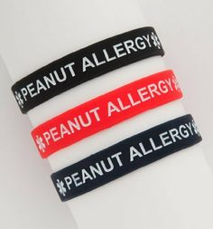"""Kids Peanut Allergy Silicone Wristbands - Lot of 3 by Fashion alert. $9.97. Fun & Functional. 7"""" in Diameter. Great for Kids!. Set of 3. Peanut Allergy Silicone Bracelets. Sold in a pack of 3. Colors include one of each: Red,Black,Blue. Child's size (7 inches).  A great alternative to the traditional medical bracelet."""