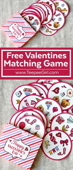 This free Valentine's Day matching game is perfect for all ages! It's colorful, bright, and super fun to play! Play it at class parties, play-dates, or at Valentines Games, Valentine Theme, Valentines Day Activities, Valentines Day Party, Holiday Activities, Valentine Day Crafts, Be My Valentine, Valentine Ideas, Valentine Nails