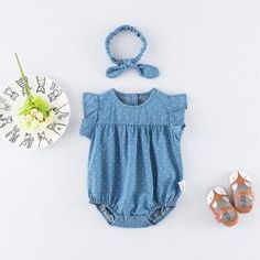 7931a19fc80d0 Sweet Flounce-sleeve Denim Romper with Hairband for Baby Girls Mode Enfant,  Bandeaux Pour