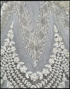Day dress, c. 1905, now at the V  Cotton lawn, with handmade lace insertions and cotton crocheted flowers.
