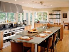 Galley kitchen with island is a type of functional kitchen design which creates spacious workspace with kitchen island as multi functional kitchen Kitchen Island Designs With Seating, Modern Kitchen Island, Kitchen Dining, Kitchen Islands, Open Kitchen, Design Kitchen, Nice Kitchen, Contemporary Kitchens, Modern Kitchens