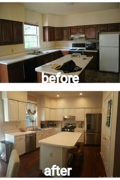 Painted kitchen cabinets before and after picture